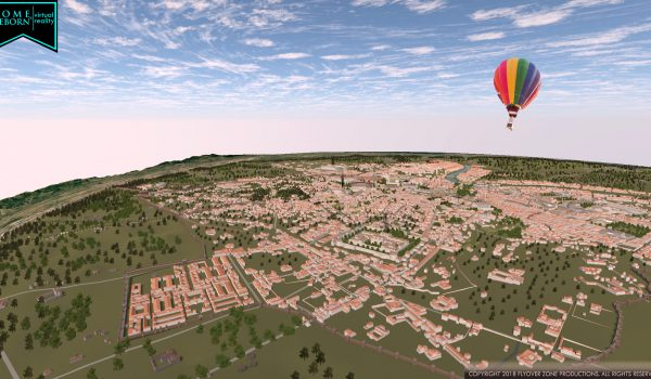 Rome from the east with hot air balloon